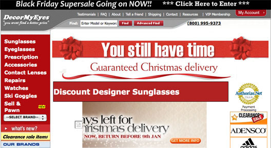 """As of today, <a href=""""http://decormyeyes.com/"""">DecorMyEyes</a> is still offering delivery in time for Christmas"""