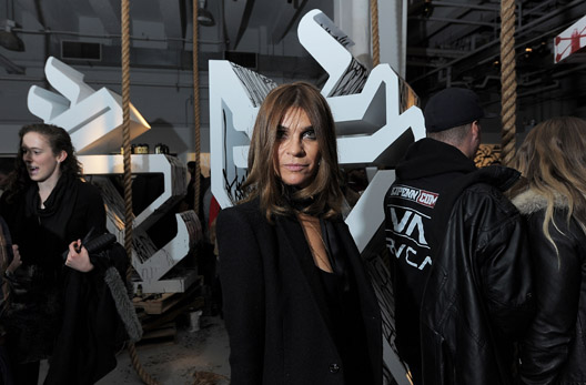 Roitfeld at an exhibit curated by her son in February. Via Getty