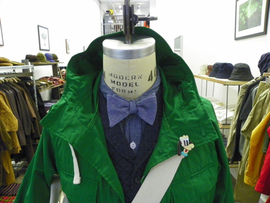 """Engineered Garments vest, shirt, bow-tie, and bag. Image via <a href=""""http://nepenthesnewyork.blogspot.com/search/label/Styling"""">Nepenthes</a>."""