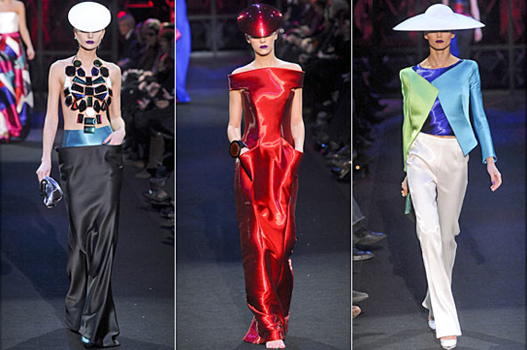 """Did Giorgio Armani watch Tron one too many times? Images courtesy of <a href=""""http://www.stylelist.com/2011/01/25/couture-spring-2011-armani-prive-dior/"""">Style List</a>."""