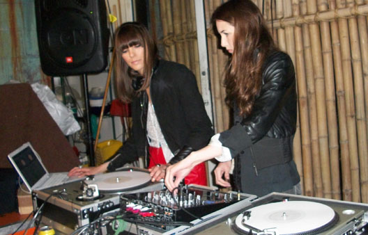 The pretty designers behind Posso the Spat tear it up at a party in Los Feliz, as their alter-egos Posso the DJ