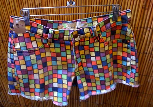 "Nifty Mondrian vs. Rubik's cube shorts, found at Hidden Treasures. Image via <a href=""http://www.sundancechannel.com/fullfrontalfashion/blog/2009/10/hidden-treasures-thrift-shop/"">Sundance Channel</a>"
