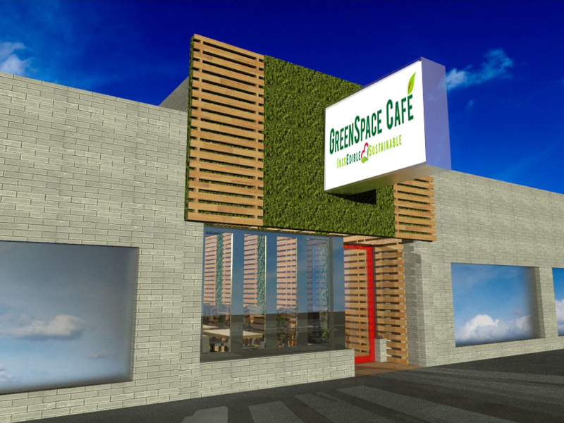 A rendering of GreenSpace Cafe.