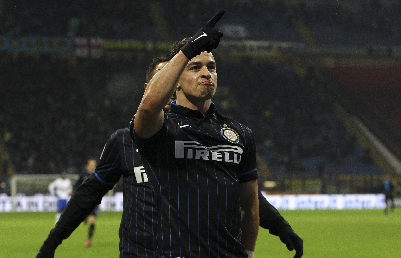 Shaqiri celebrates his first goal with Inter Milan