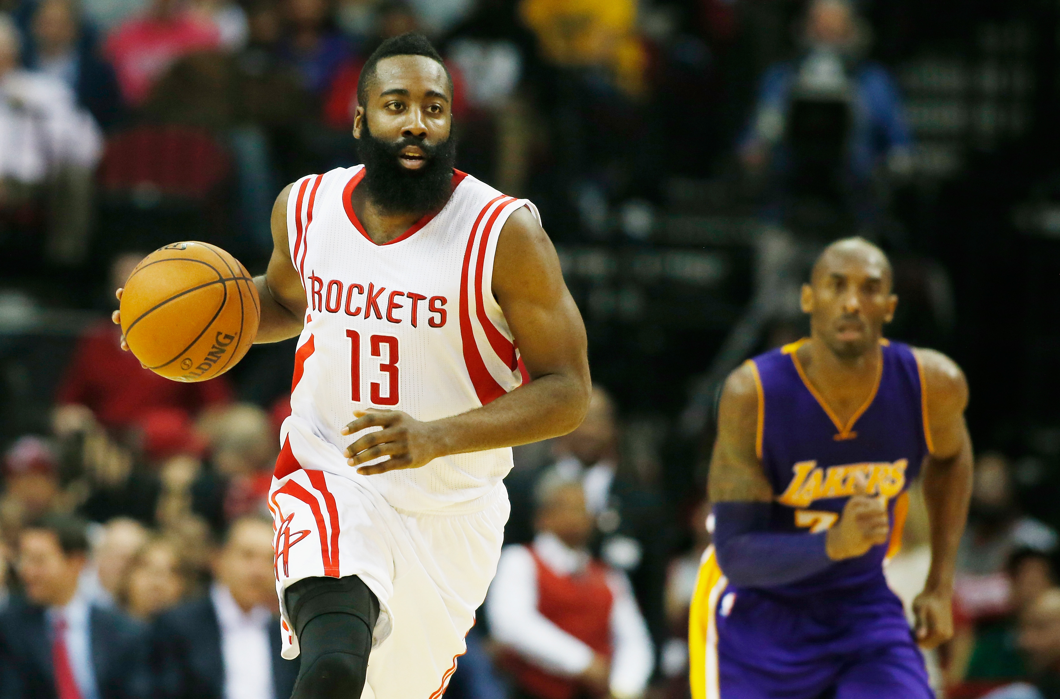 James Harden (L) is in the running to take the injured Kobe Bryant's (R) starting spot in the 2015 NBA All-Star Game.