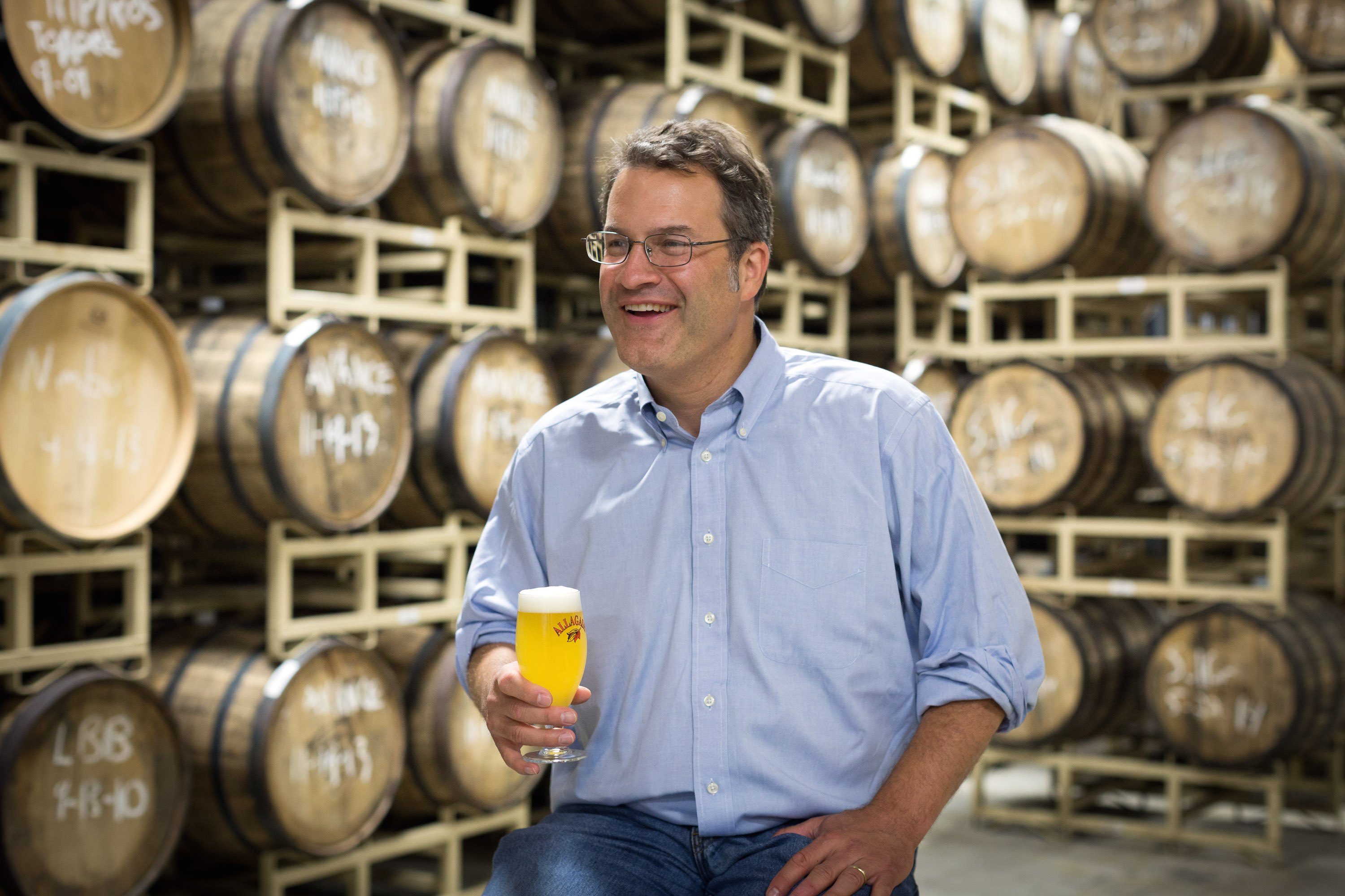 Rob Tod, founder of Allagash Brewing Company, in the wild barrel room, where the company's funkiest experiments take place.