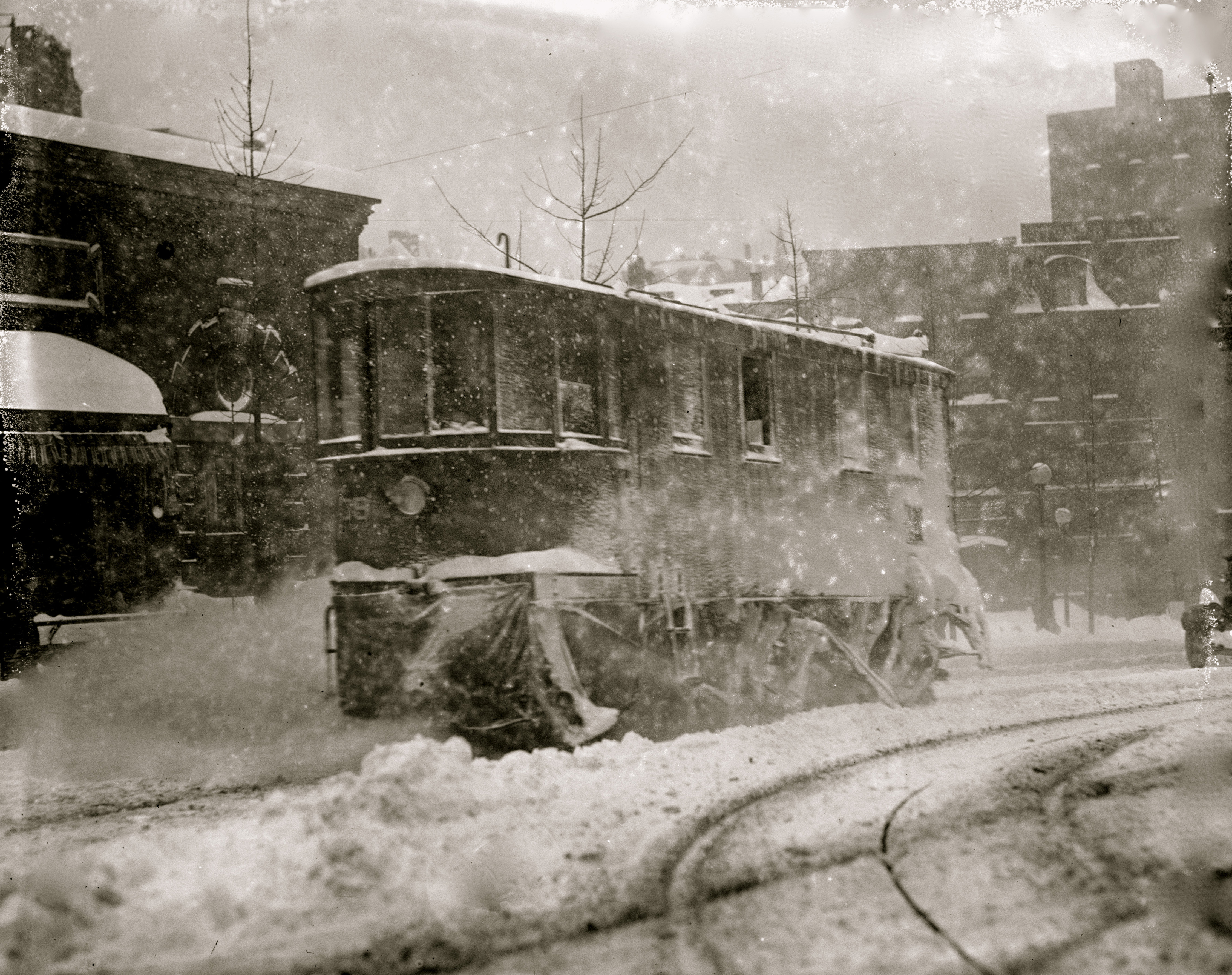 A streetcar during the 1888 blizzard.