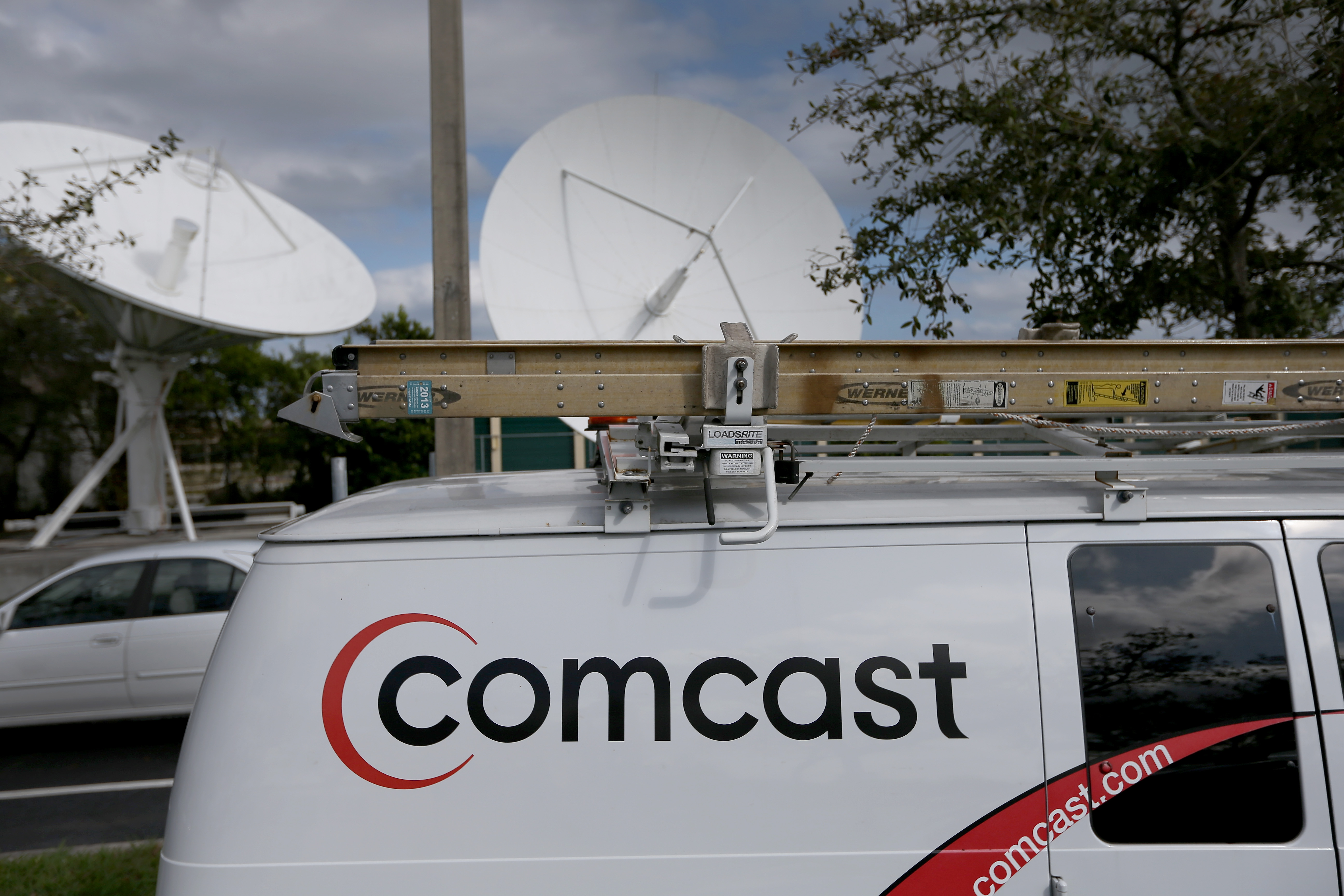 A Comcast truck is seen parked at one of their centers on February 13, 2014 in Pompano Beach, Florida.