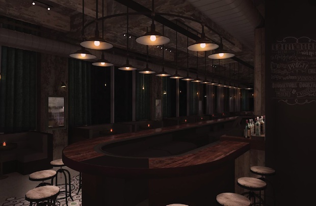 A rendering of the bar at Brick & Mortar, coming soon.