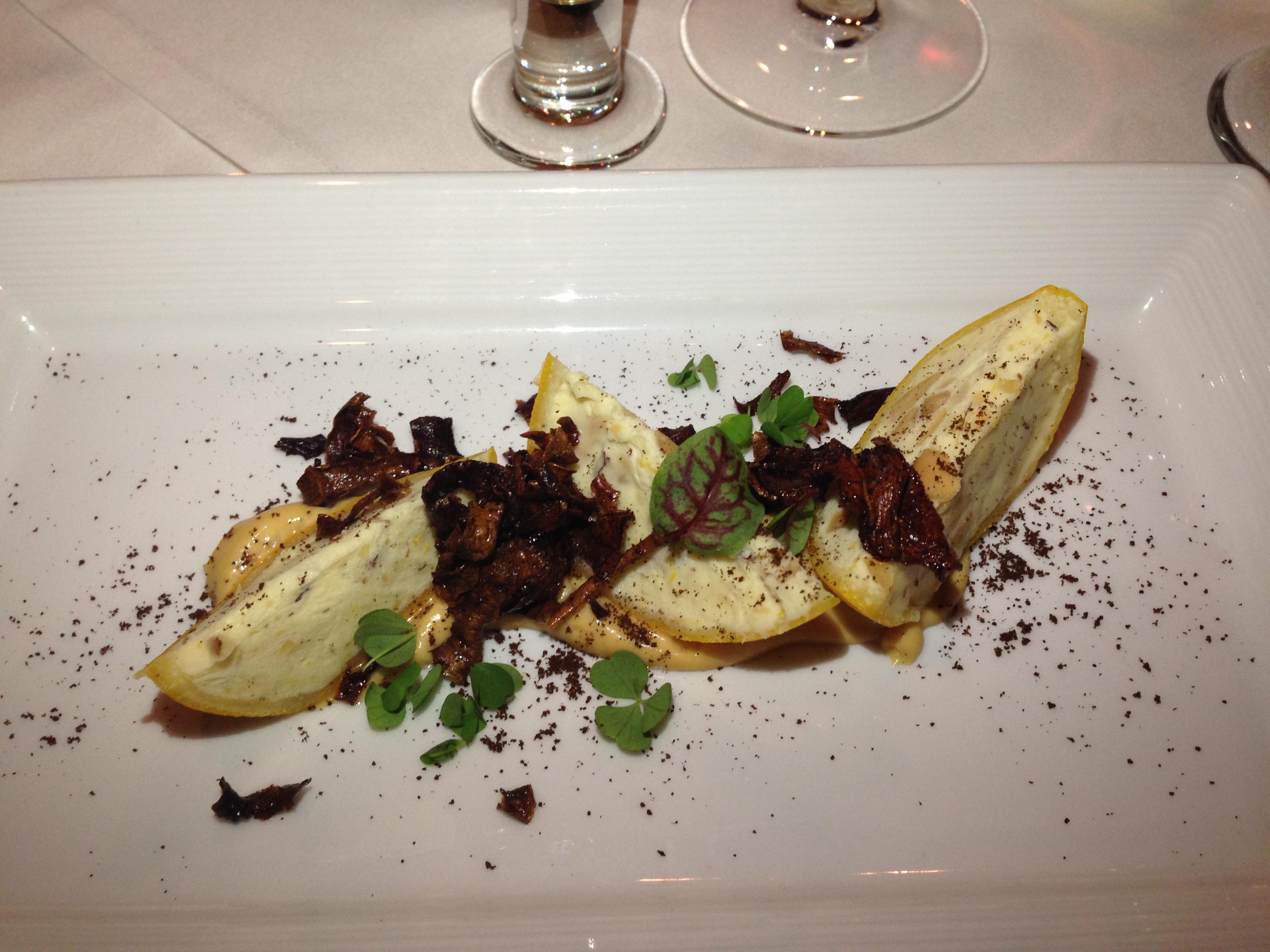 Torino's chef Garrett Lipar prepared a dish featuring Meyer lemon, Brazil nut, and parsnip.