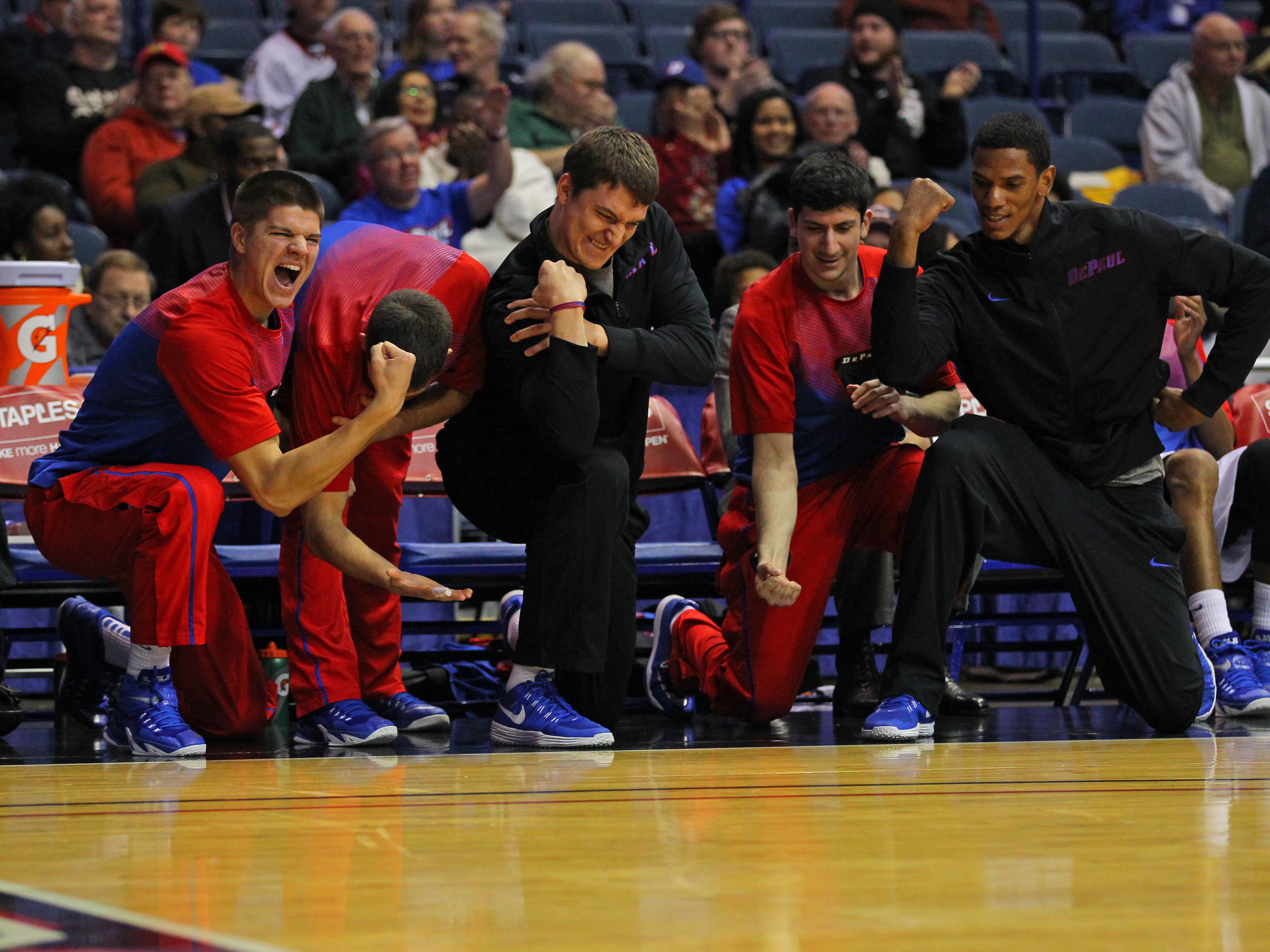 DePaul's bench demonstrating what actual team spirit looks like.