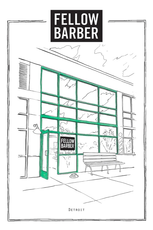 Drawing of Fellow Barber's Detroit location.