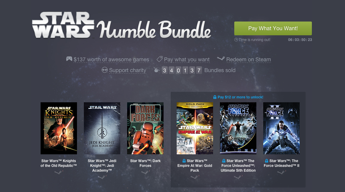 Star Wars comes to the Humble Bundle for the next week
