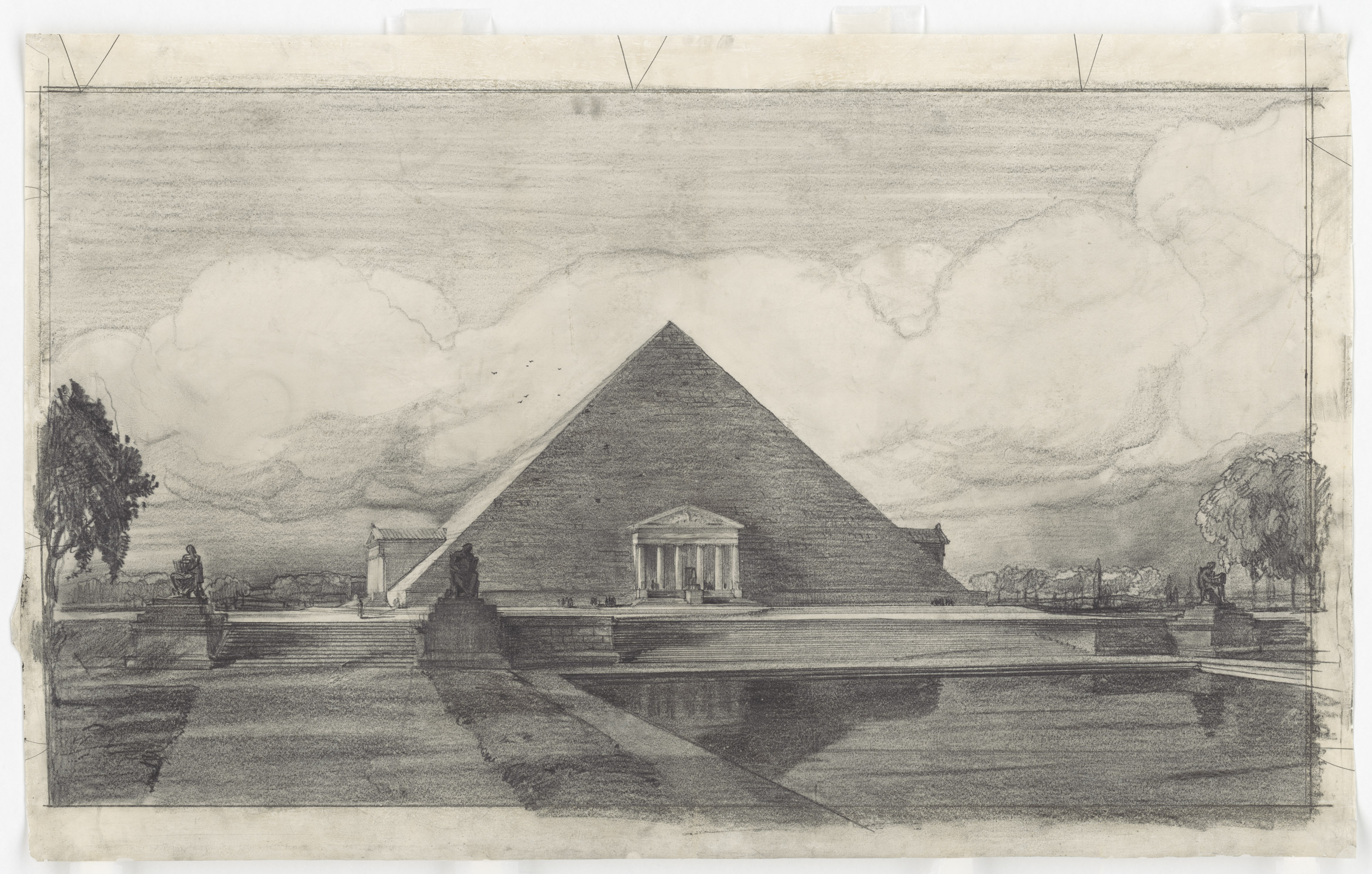 A proposed pyramid for the Lincoln Memorial.