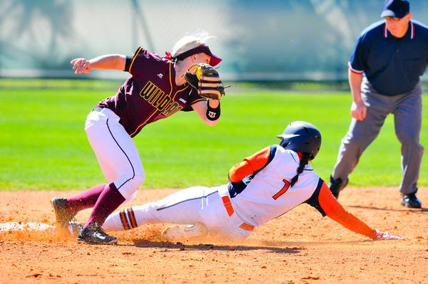 Mary Dombrowski slides in ahead of the tag against Bethune-Cookman