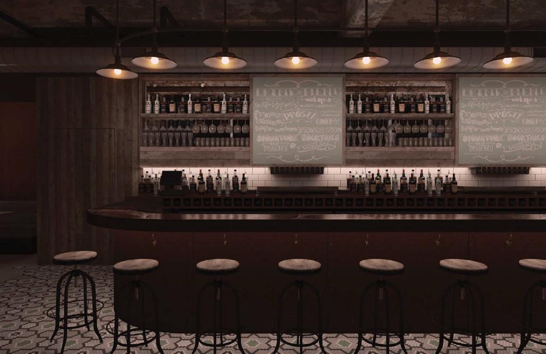 A rendering of the bar at forthcoming Brick & Mortar.