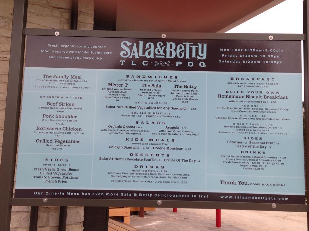 Sala & Betty's drive-thru menu