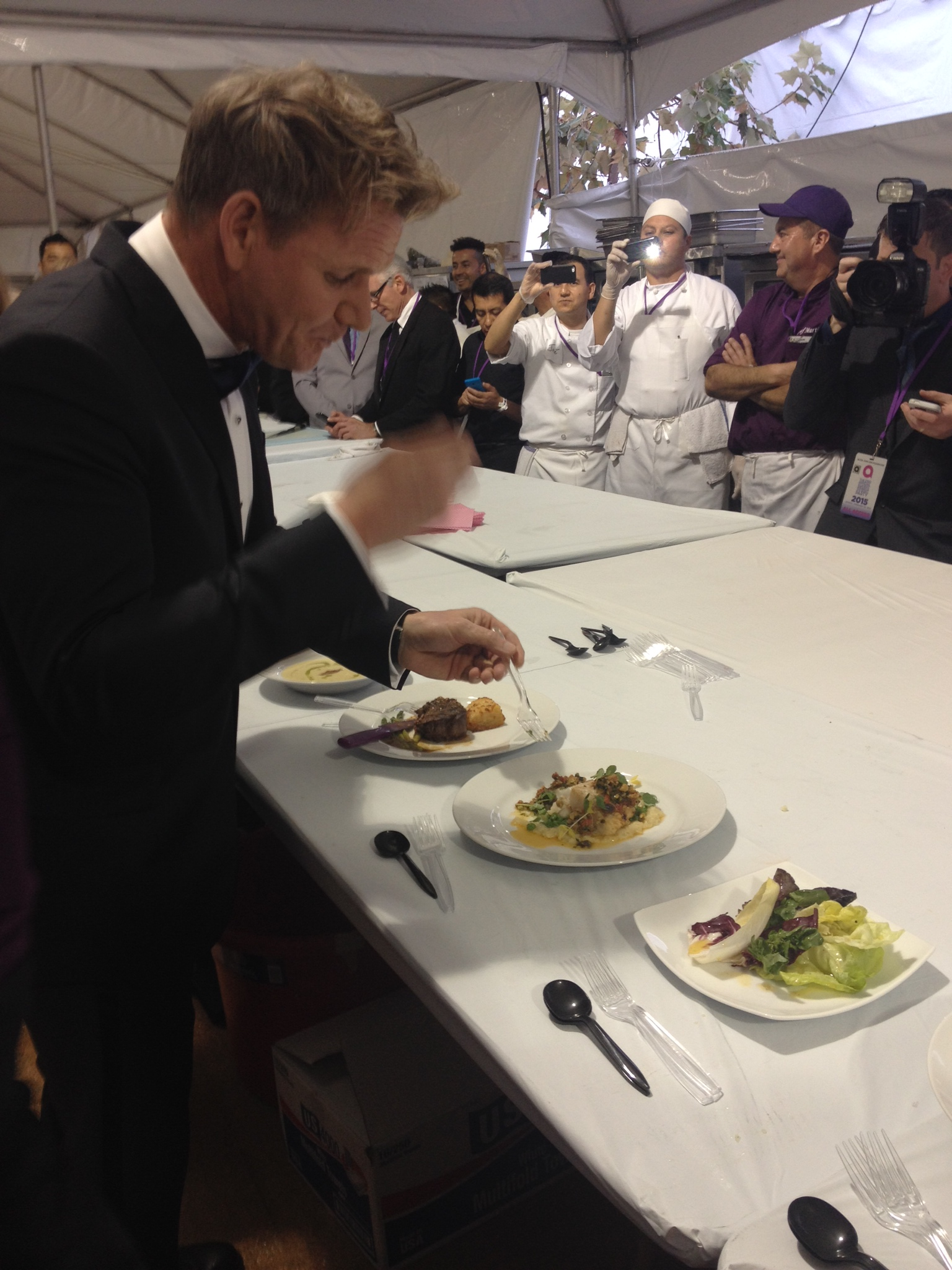 Gordon Ramsay tastes dishes at the 23rd annual Oscars Viewing Party hosted by Elton John and David Furnish.