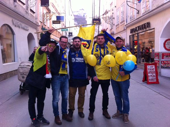 Villarreal fans in Salzburg ahead of today's match