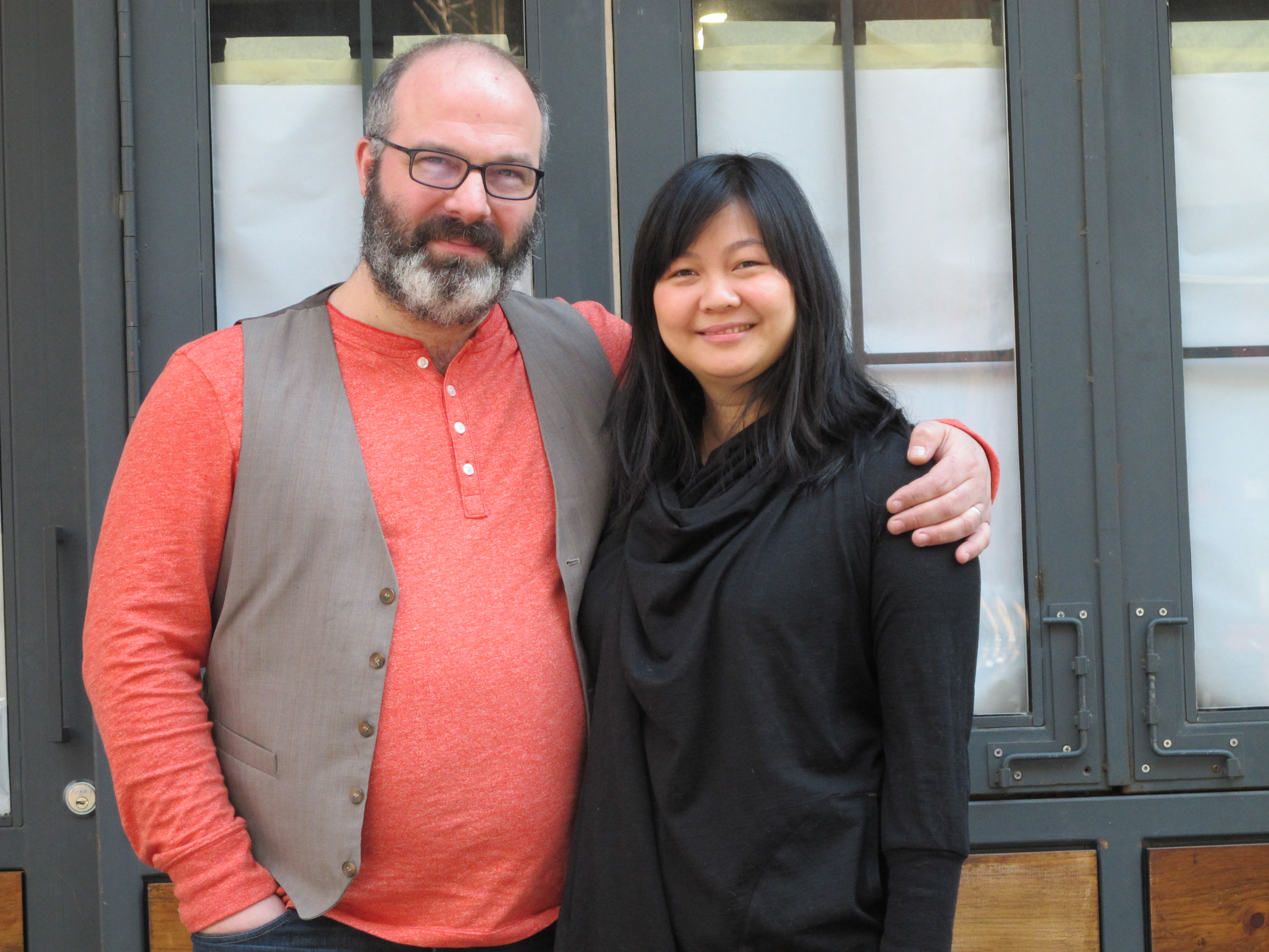 Ben Sandler and Jennifer Lim outside of Wassail