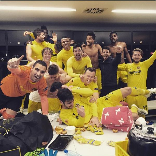 A happy bunch of Villarreal players!