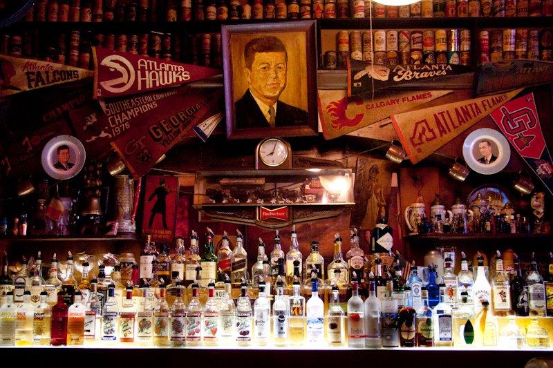 Behind the bar at Manuel's.