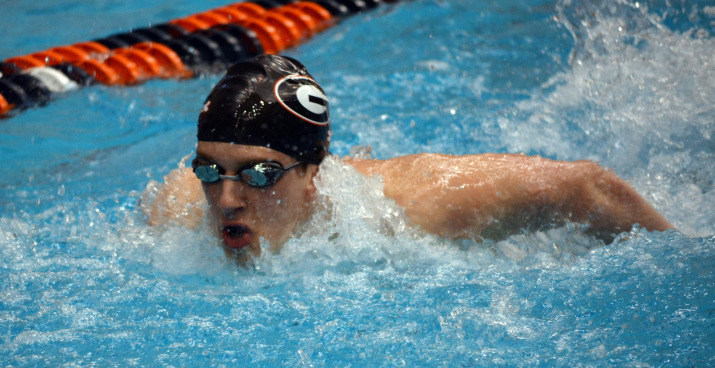 Powell Brooks during the SEC Swimming and Diving Championships at the James E. Martin Aquatics Center in Auburn, Ala., on Friday, Feb. 20, 2015. (Photo by Steven Colquitt)