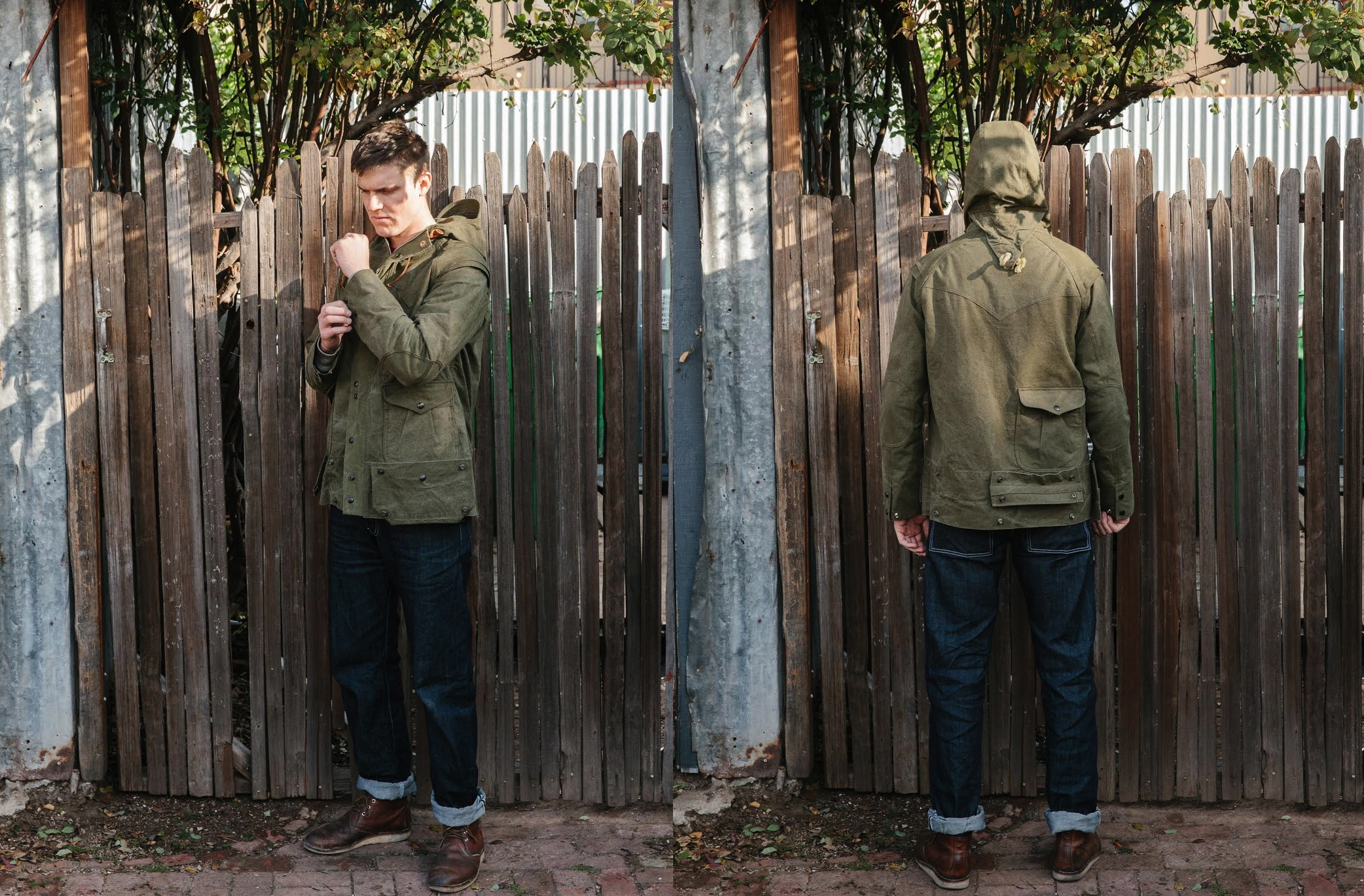"""Monitaly Mountain Parka, $595 at <a href=""""http://standardandstrange.com/collections/featured/products/mountain-parka-us-army-tent"""">Standard & Strange</a>"""