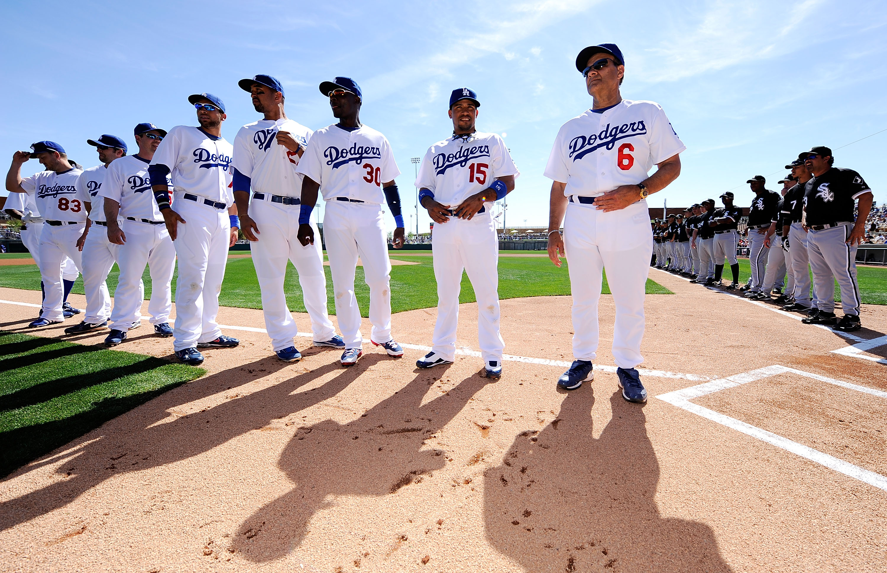 The Dodgers get ready for the first game at Camelback Ranch, in 2009.