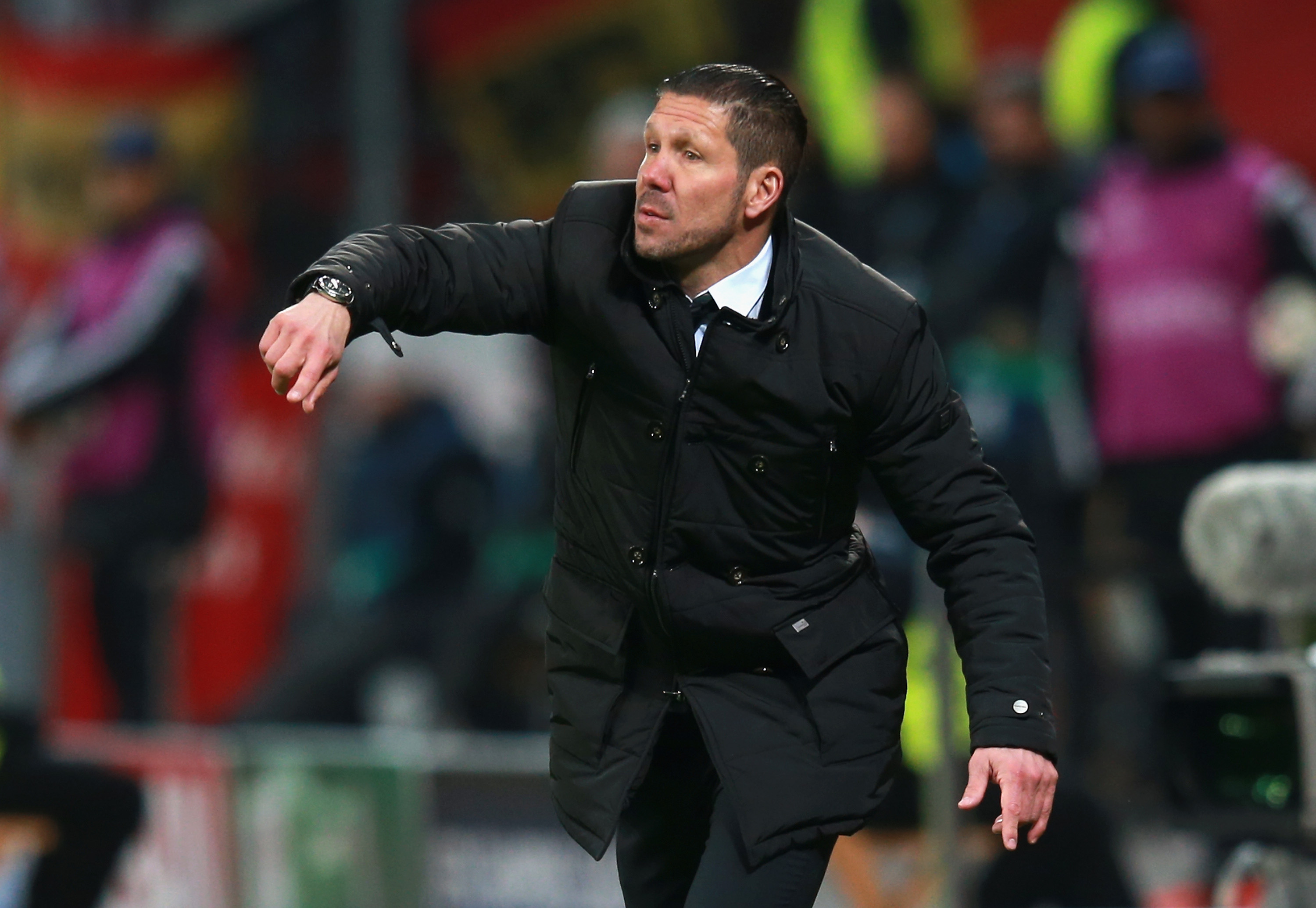 FEBRUARY 25: Head Coach Diego Simeone of Atletico Madrid on the touchline during the UEFA Champions League round of 16 match between Bayer 04 Leverkusen and Club Atletico de Madrid at BayArena on February 25, 2015 in Leverkusen, Germany.