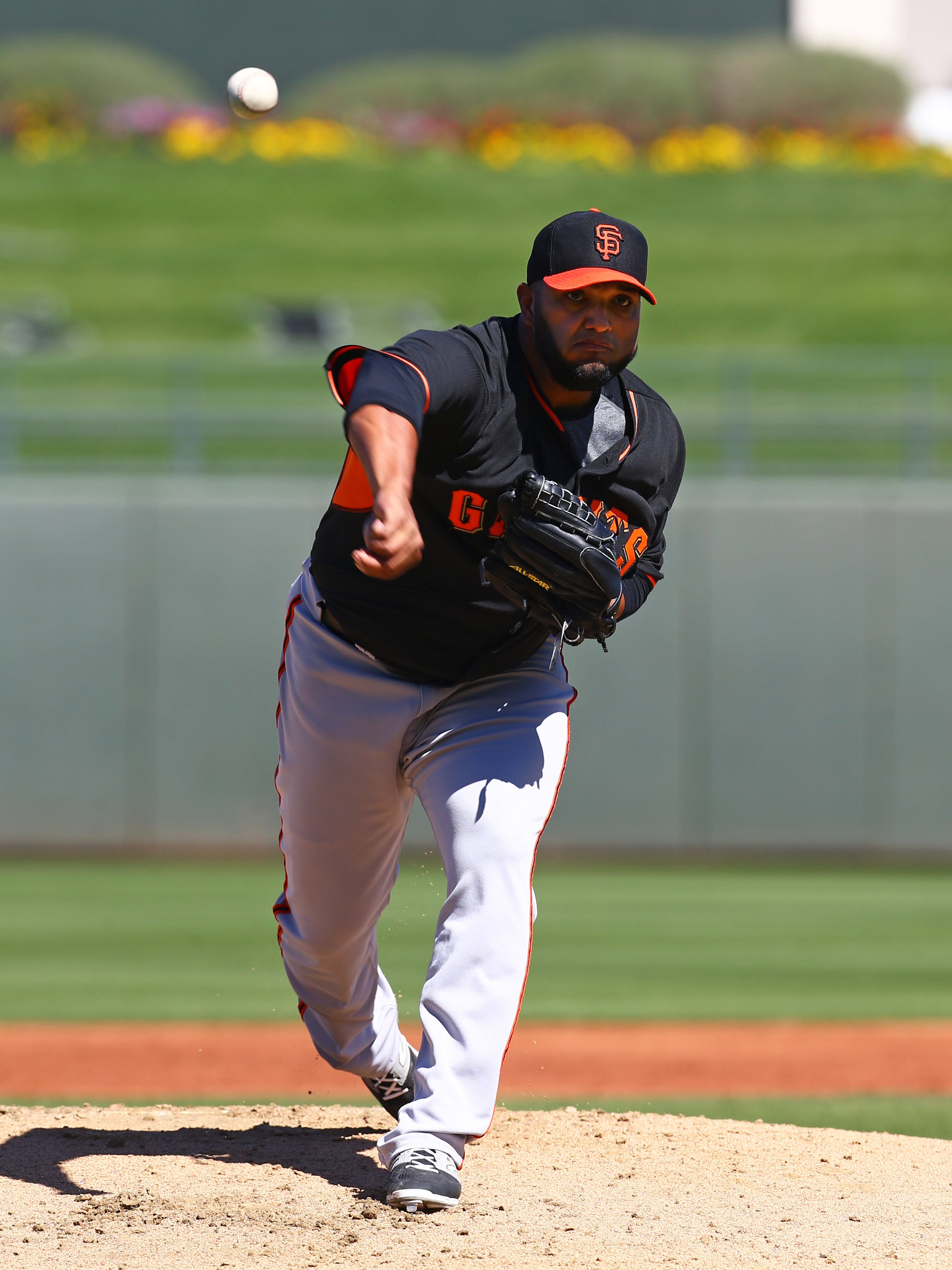 Yusmeiro Petit, seen here not giving up a run to the Nationals in the playoffs