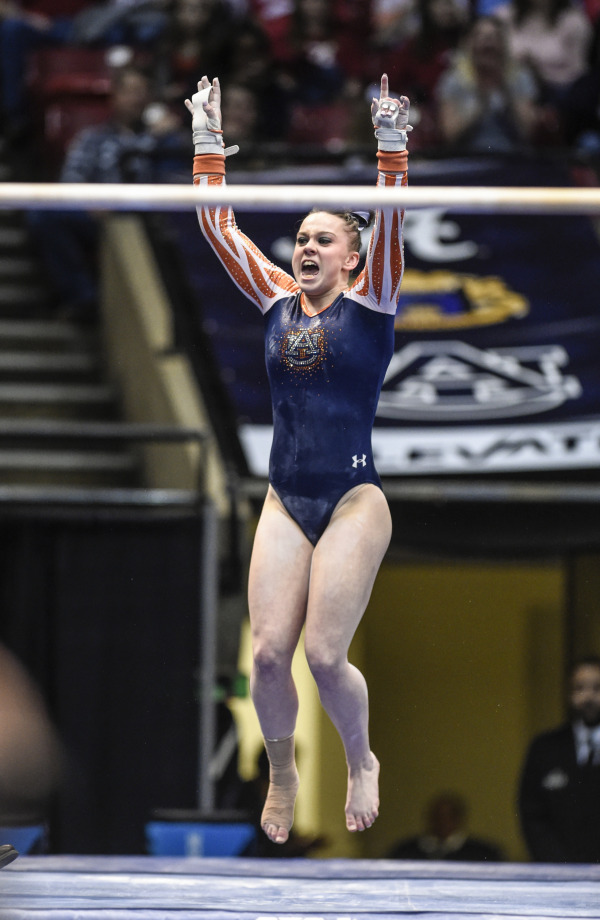 Caitlin Atkinson Auburn Gymnastics vs Alabama at the 'Elevate the Stage Meet' on Sunday, March 8, 2015 in Birmingham, Ala.