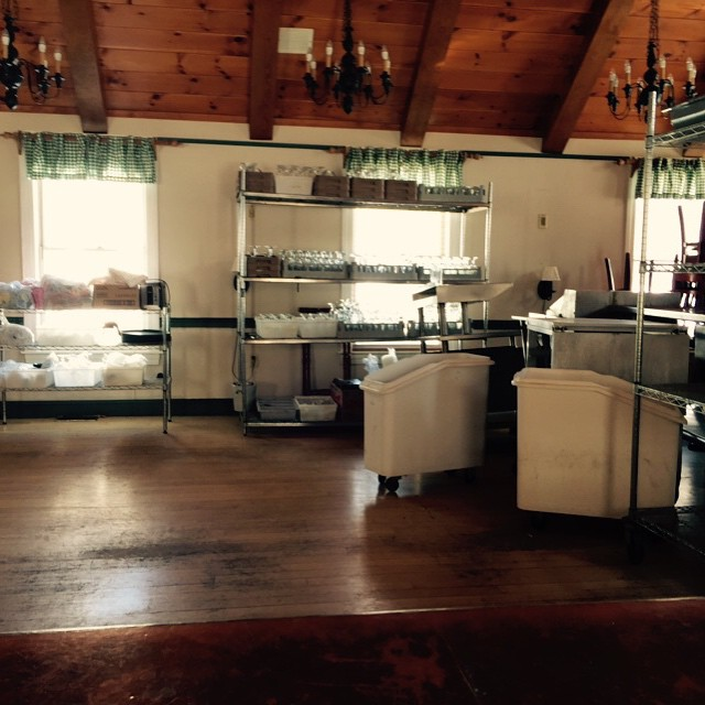 The pub at Heritage of Sherborn is under construction, seen here housing kitchen equipment.