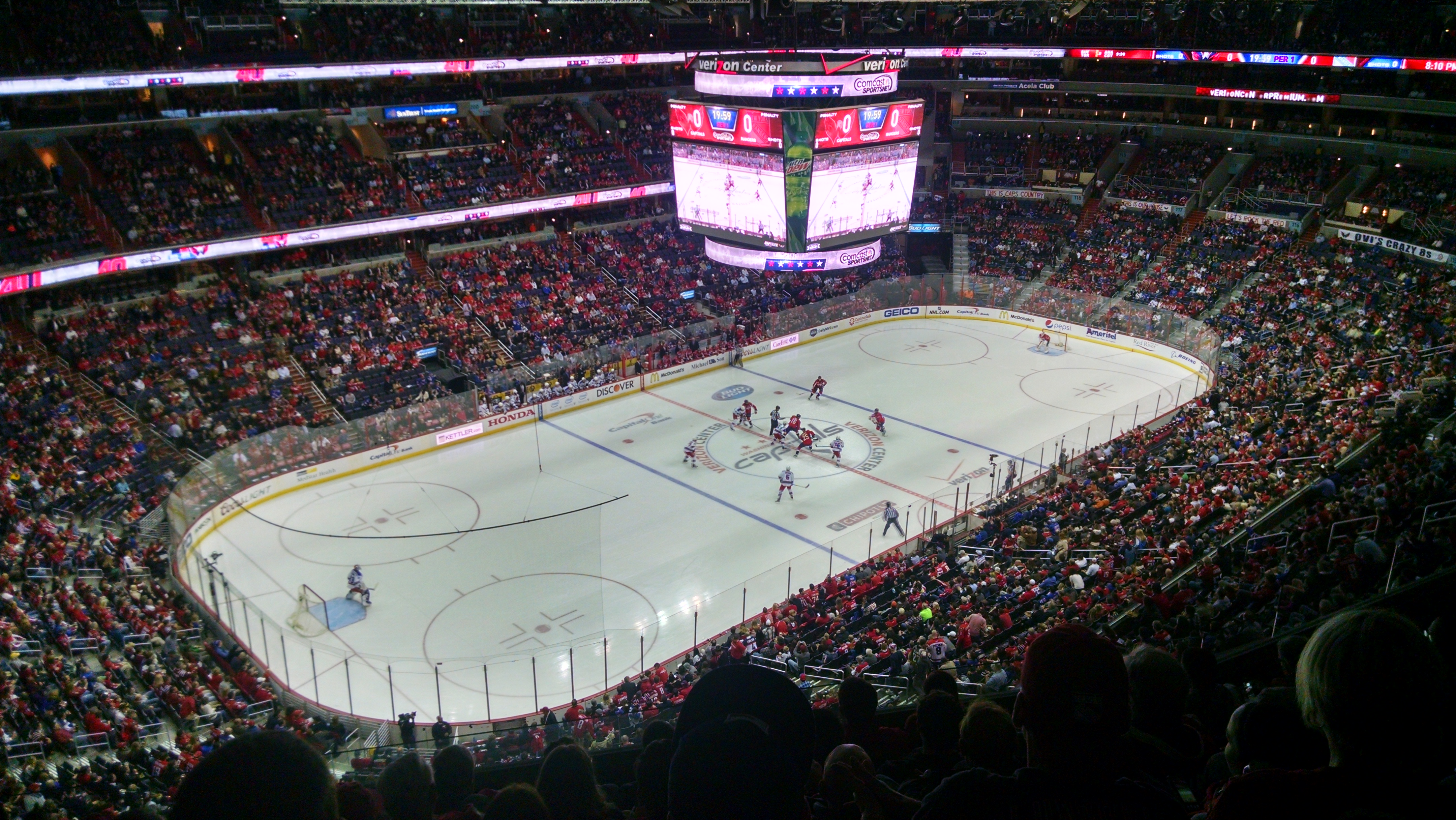 View from section 413 at puck drop.