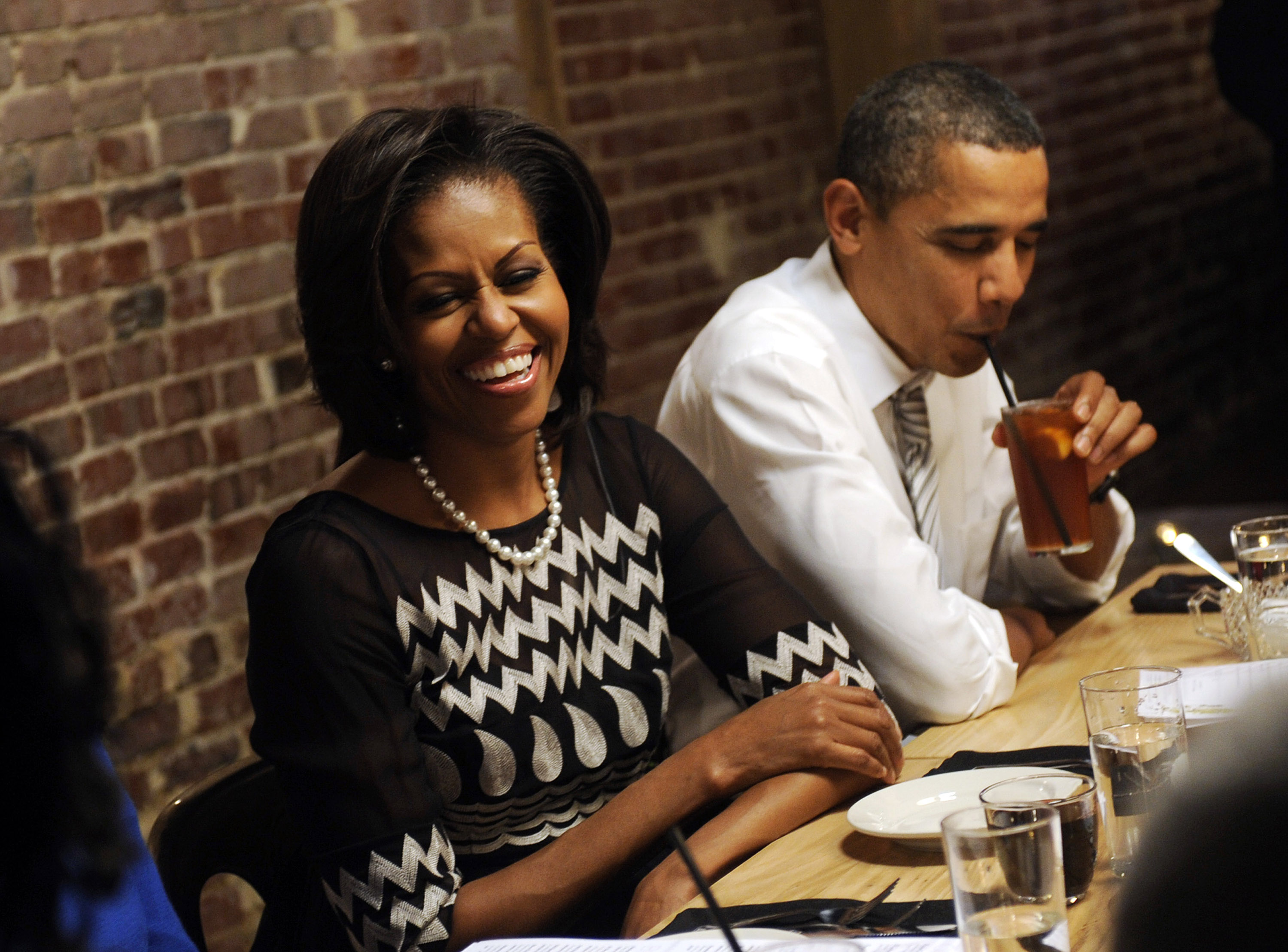 Michelle Obama and Barack Obama at Boundary Road