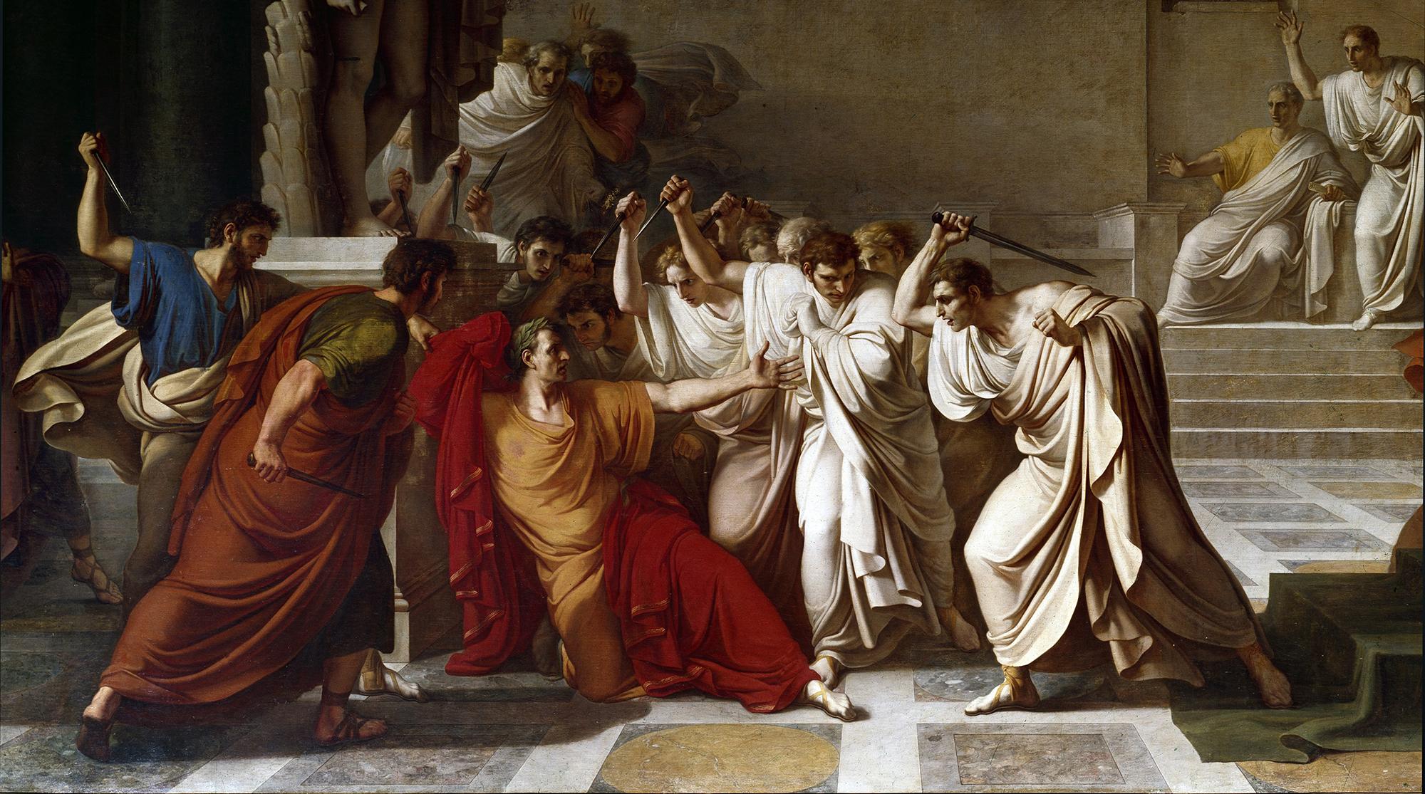 Vincenzo Camuccini's depiction of the death of Julius Caesar.