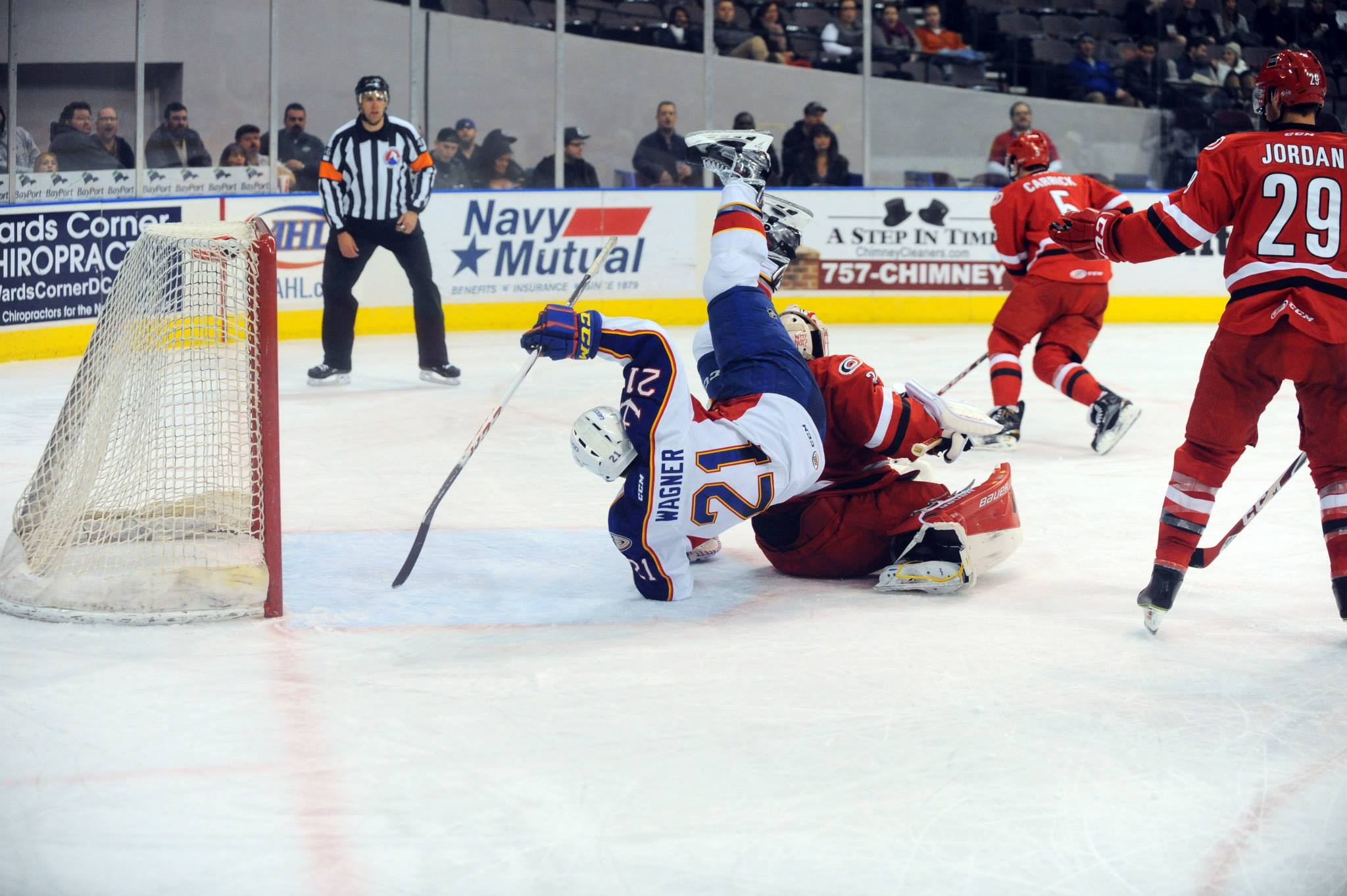 Chris Wagner drives the net against the Charlotte Checkers Jan 21, 2015