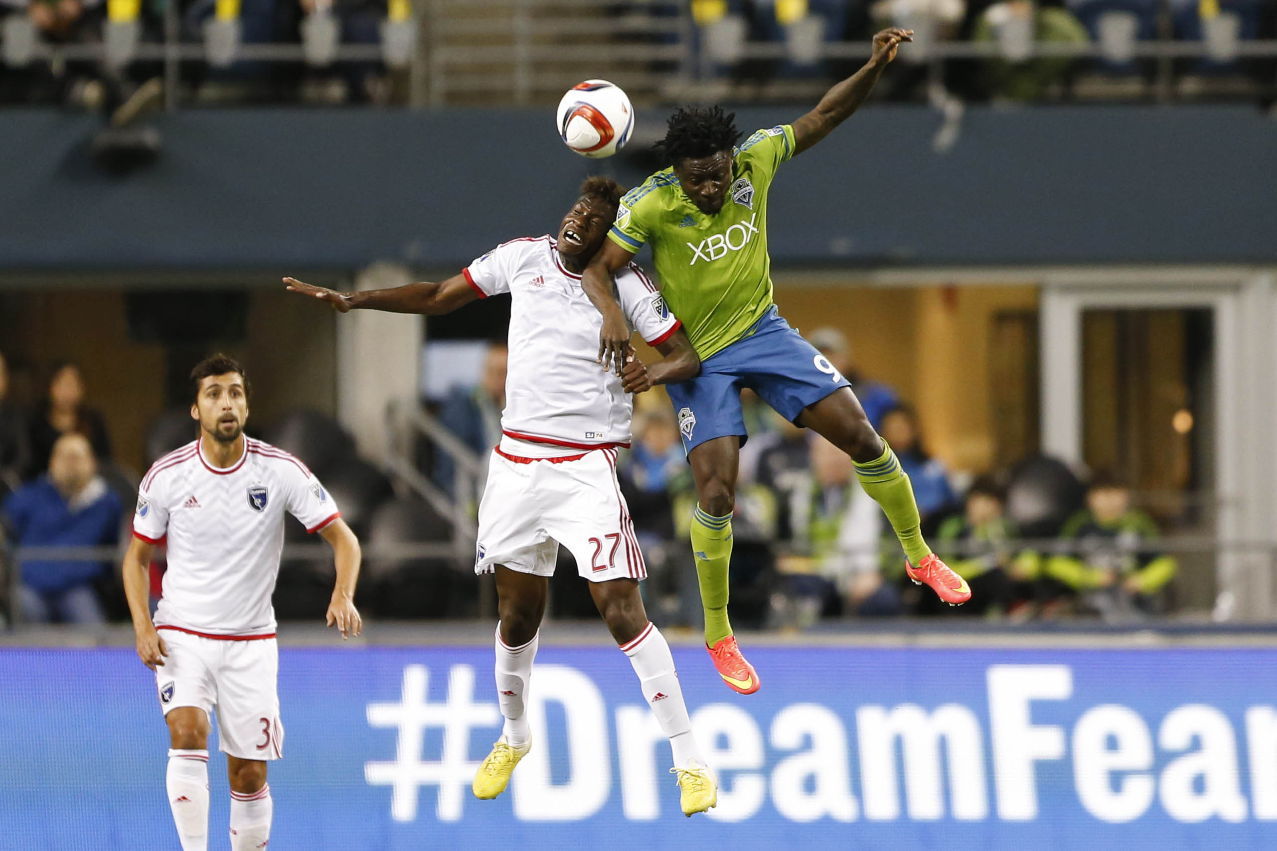 Fatai Alashe and Obafemi Martins battle it out in this aerial challenge