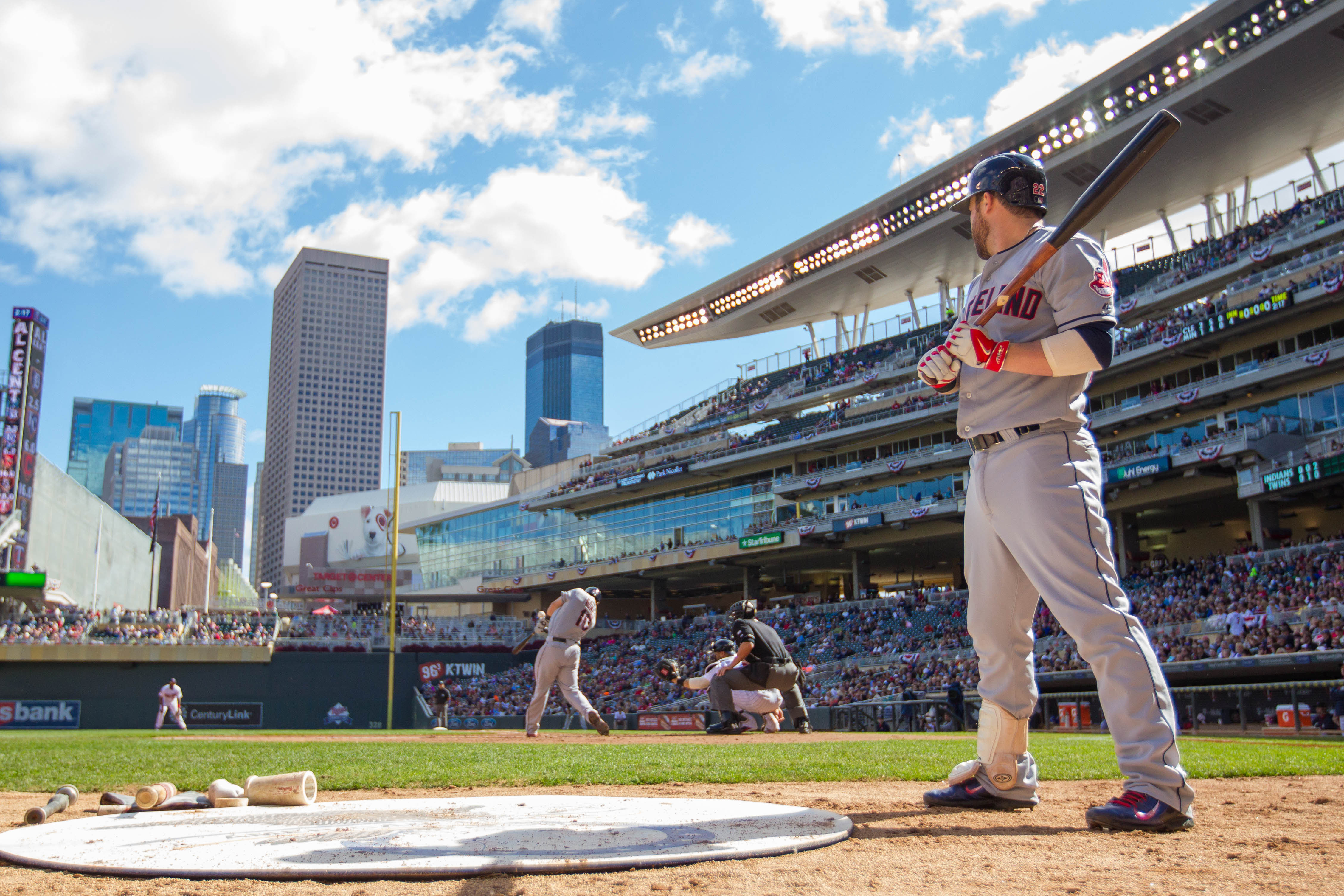 See ball, hit ball.