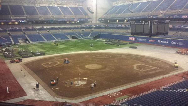 This was Monday inside The Alamodome, four days before the Dodgers and Rangers were scheduled to play their first of two exhbiition games.