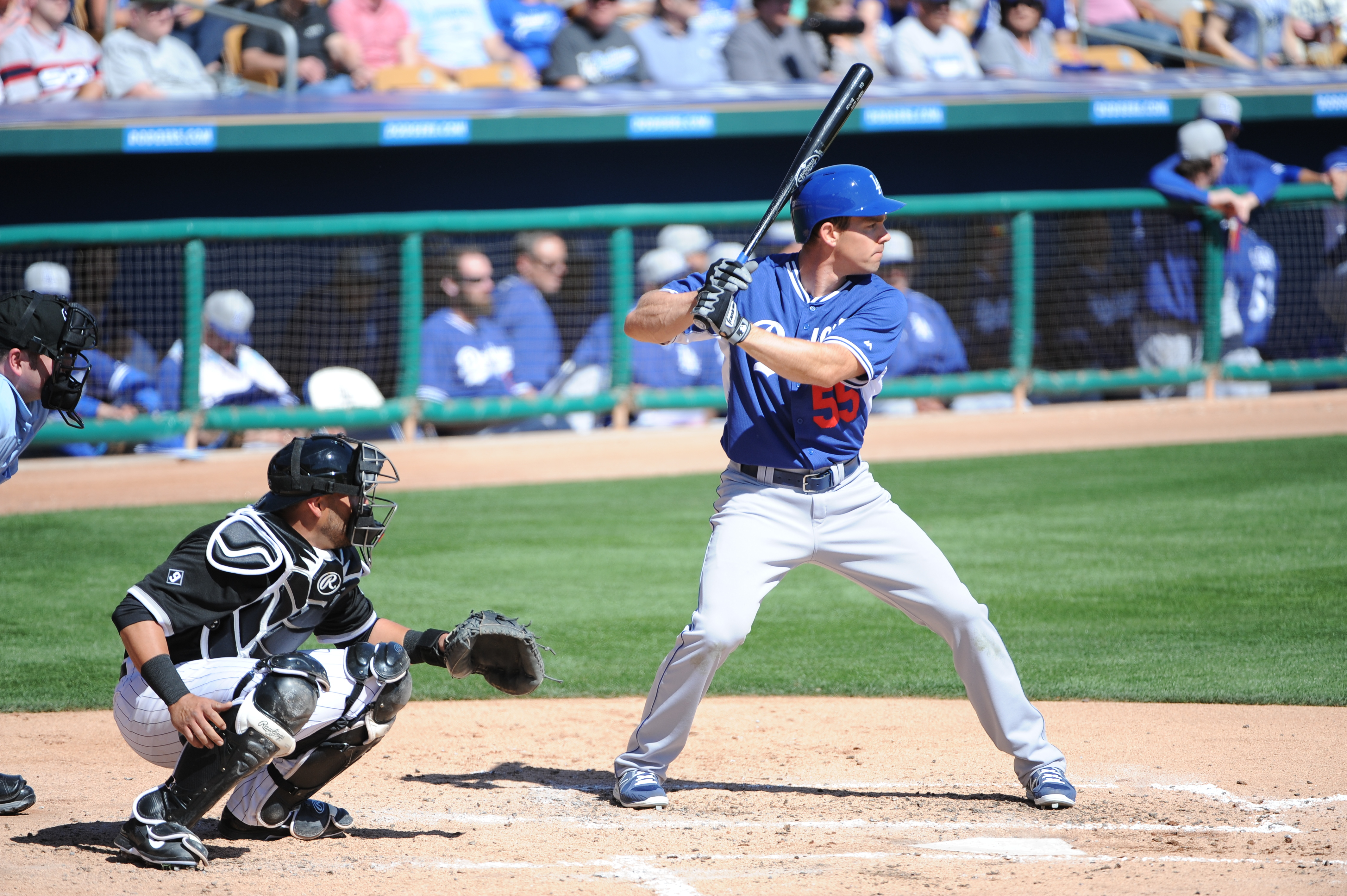 Matt Carson was one of two players sent to minor league camp by the Dodgers on Saturday.