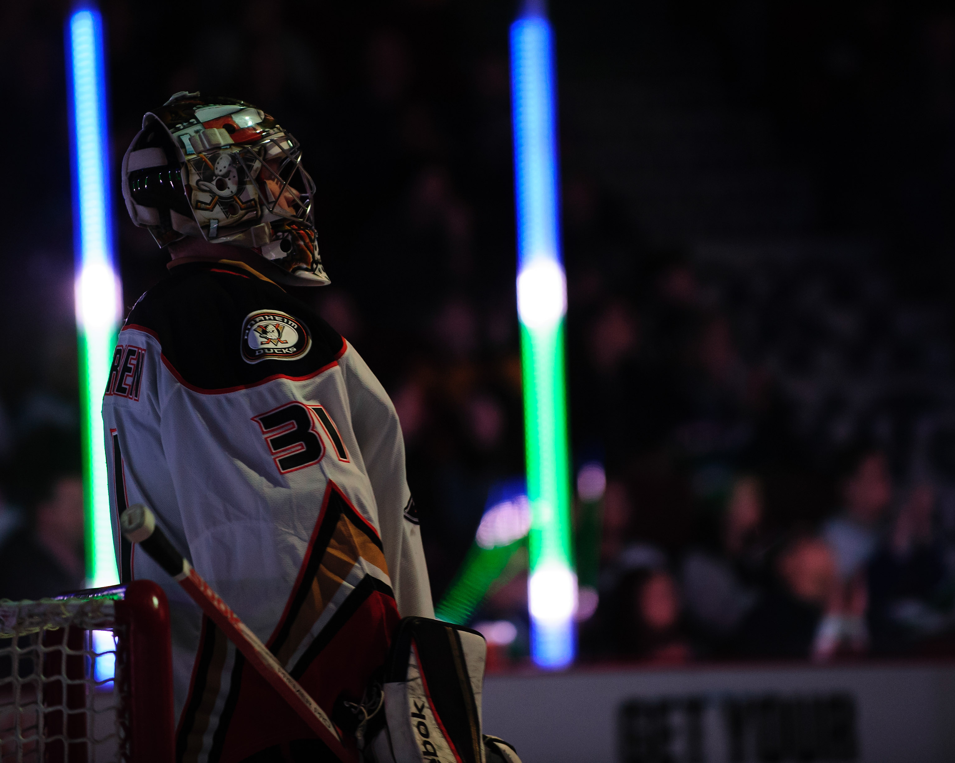 Frederik Andersen waits to face the Vancouver Canucks earlier this month.