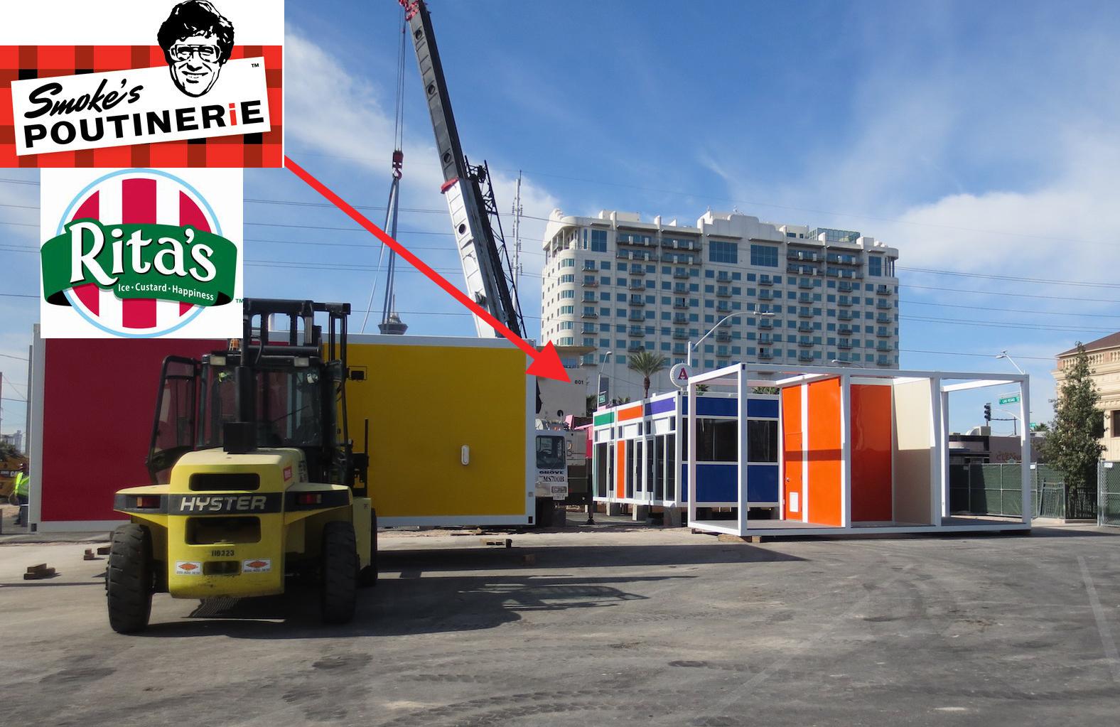 The future homes of Smoke's Poutinerie, aka Poutine Vegas, and Rita's Italian Ice at Pawn Plaza.