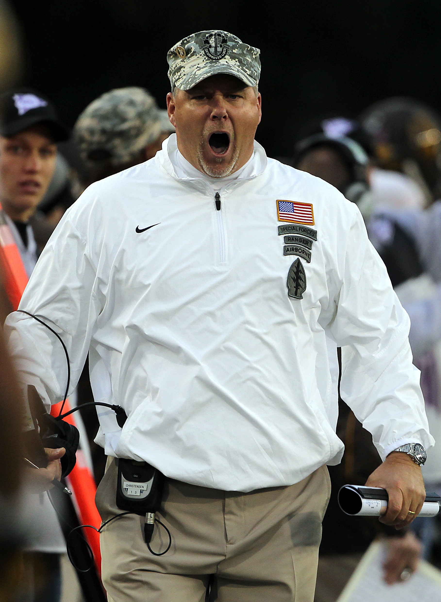 Dave Christensen reacts after watching film of the A&M 2014 offensive line.