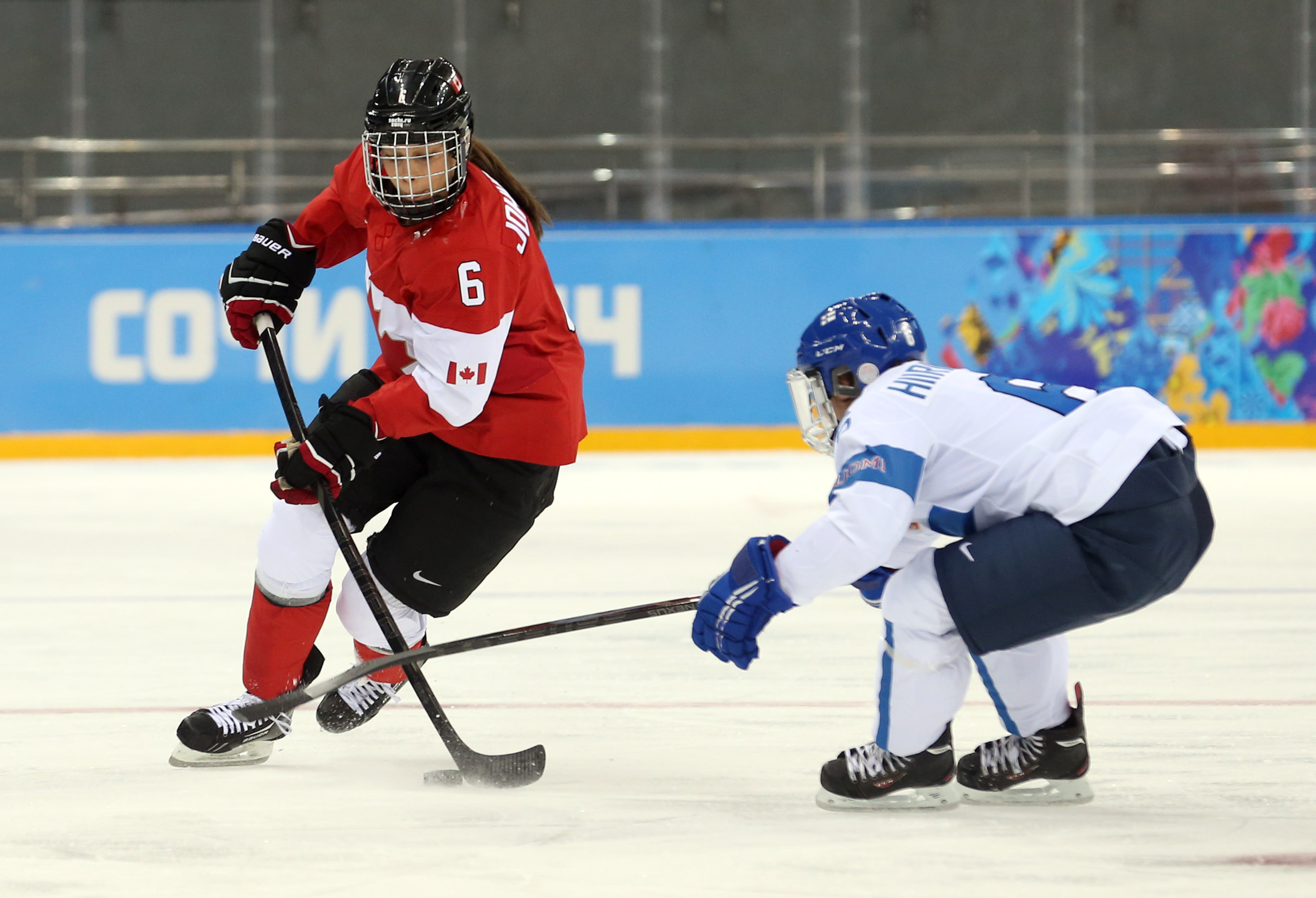 Rebecca Johnston, part of the gold-medal winning Canadian team in Sochi, had two assists in Sunday's win over Russia as Canada bounced back from a tough loss to Team USA in their opener.