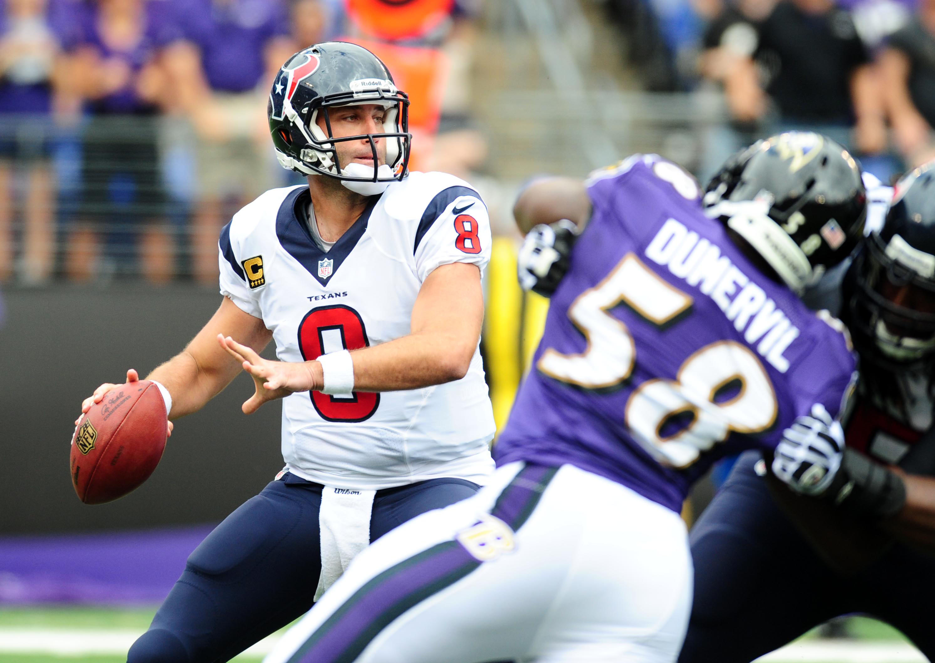 At least Schaub doesn't have to run from the Ravens front seven any more. That's a plus.