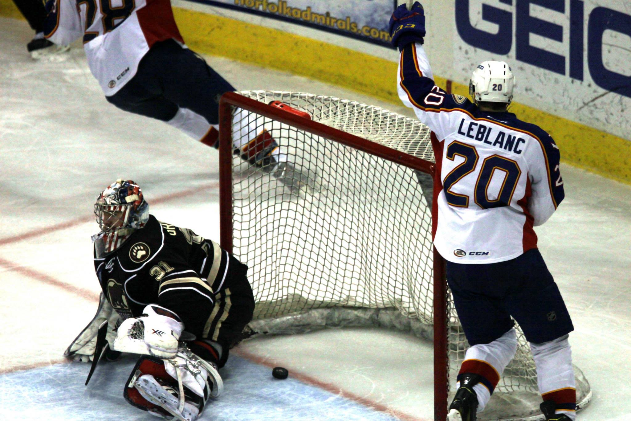 Louis Leblanc celebrates Antoine Laganiere's goal, the fourth in an Admrials' shut-out win over the Hershey Bears April 3, 2015