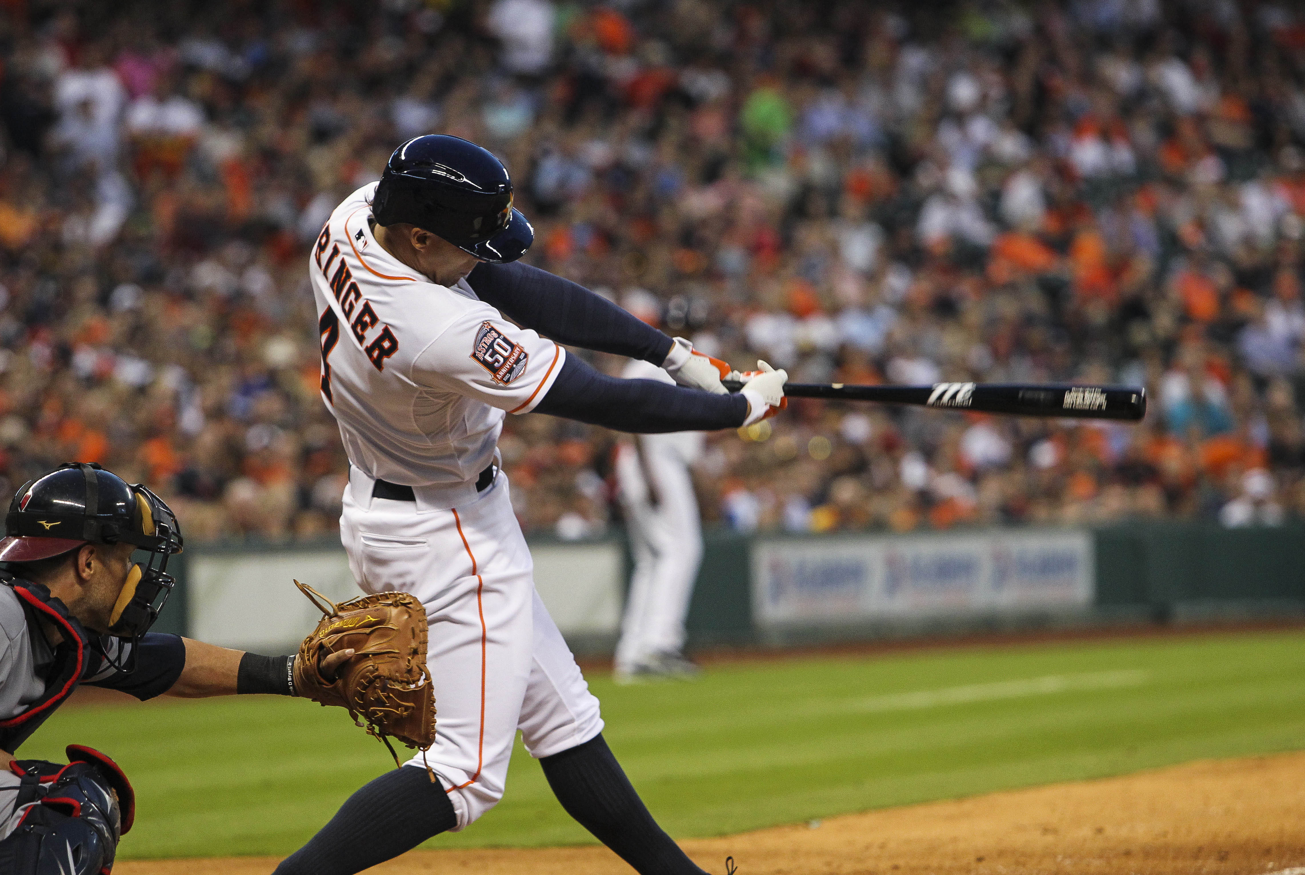 The swing that brought in a run against Kluber.