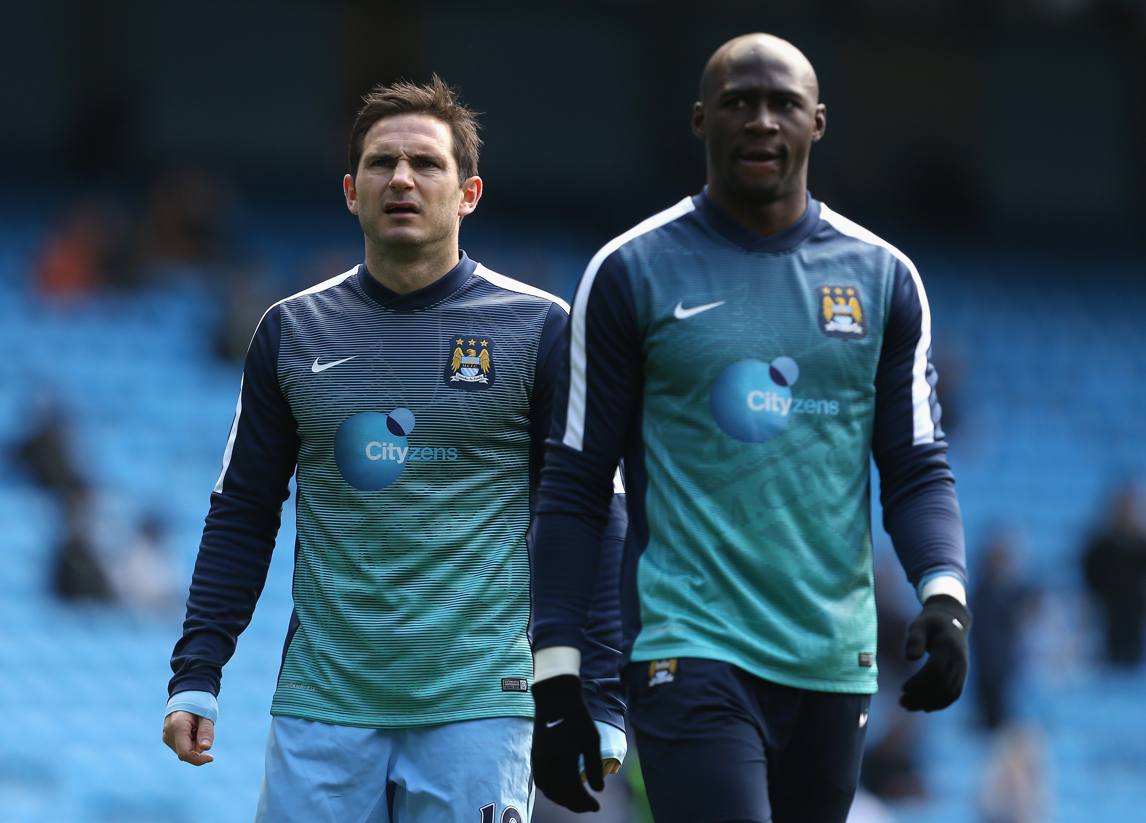 Frank Lampard of Manchester City (L) and Eliaquim Mangala of Manchester City warm up prior to the Barclays Premier League match between Manchester City and West Bromwich Albion at Etihad Stadium on March 21, 2015 in Manchester, England.