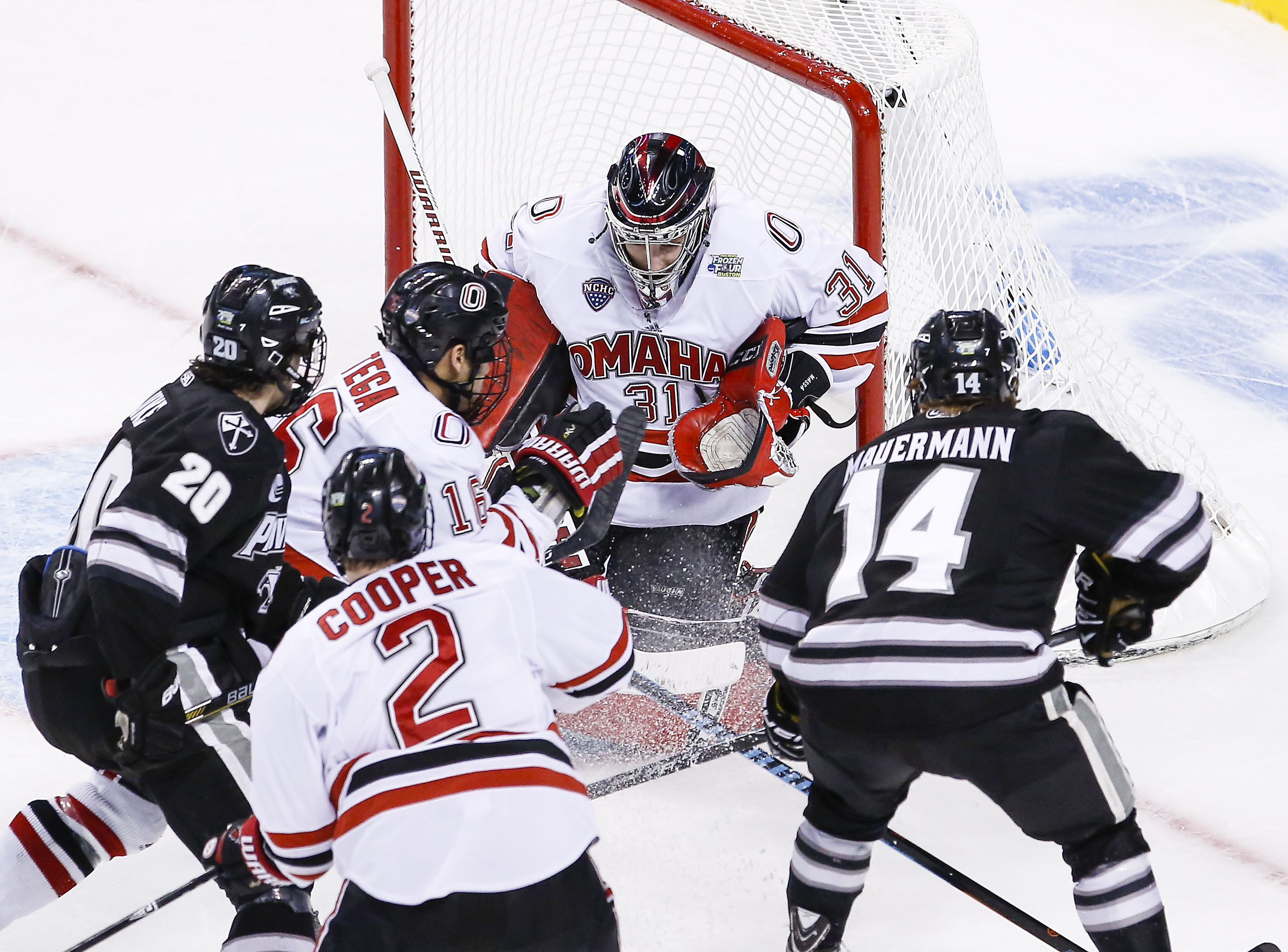 Omaha senior goaltender Ryan Massa was busy all day in the 2015 Frozen Four semifinal loss to Providence College.